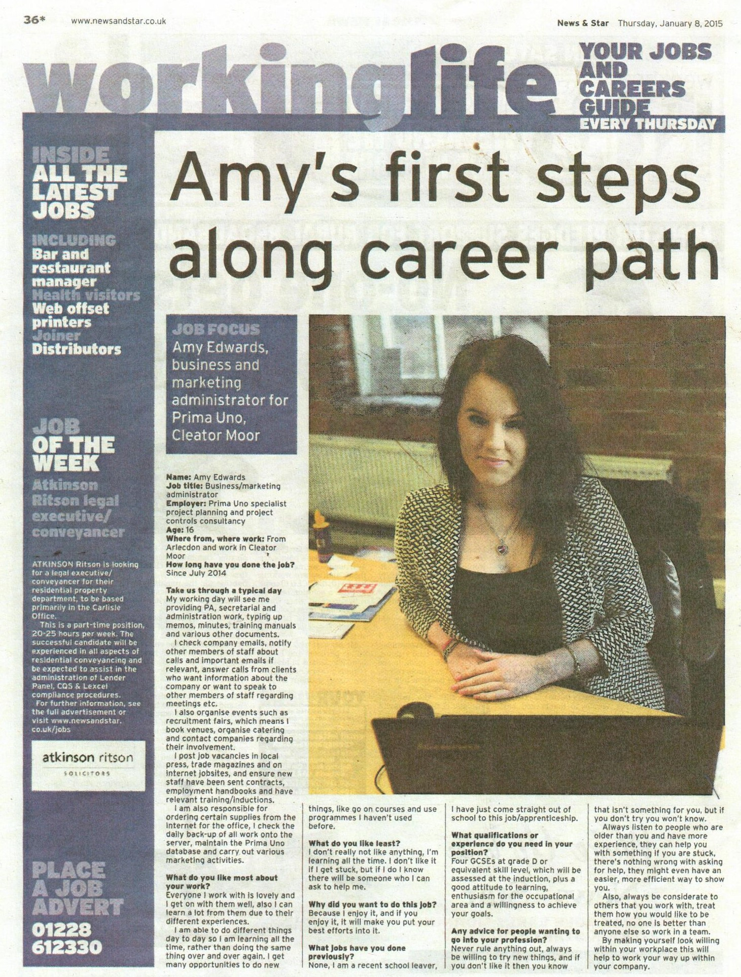 Amy's Article in News and Star