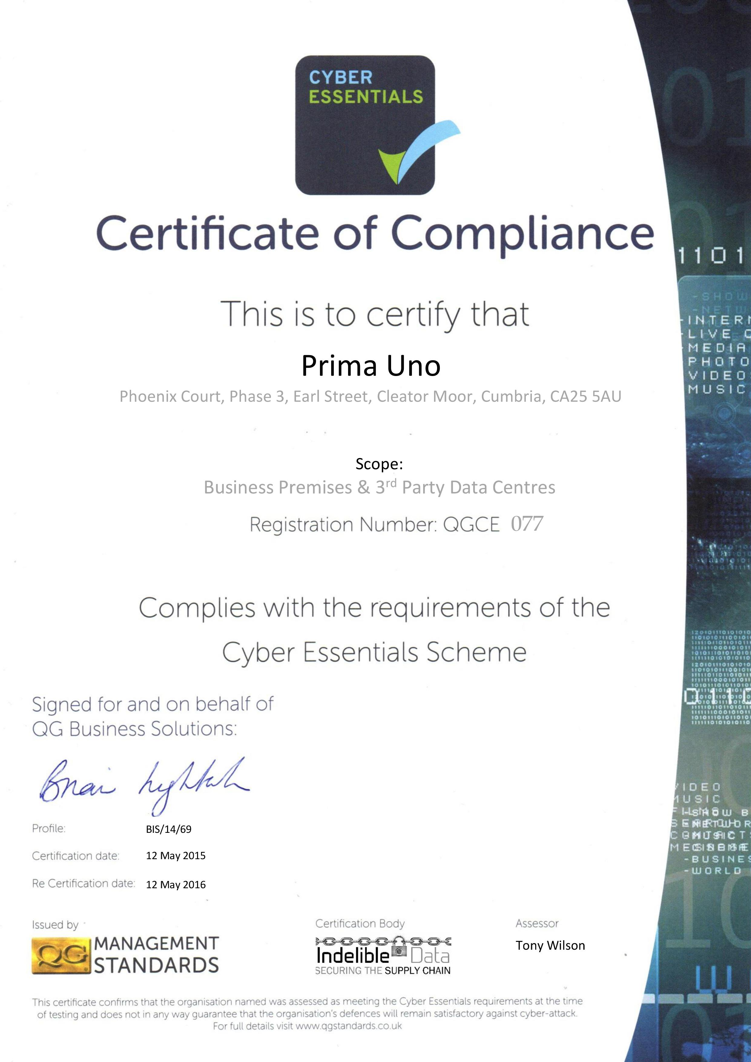 Cyber Security Certificate 2015